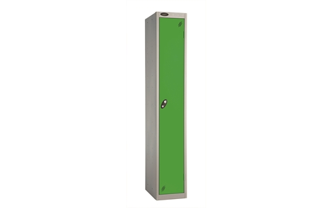 1 Door - Full height steel locker - FLAT TOP - Silver Grey Body / Green Doors - H1780 x W305 x D305 mm - CAM Lock