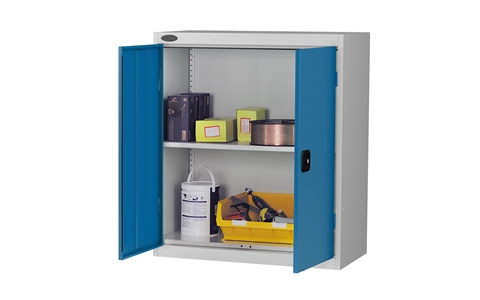 Low cupboard - C/W 1 No. shelf - Silver Grey Body/Blue Doors - H1015mm x W915 x D460