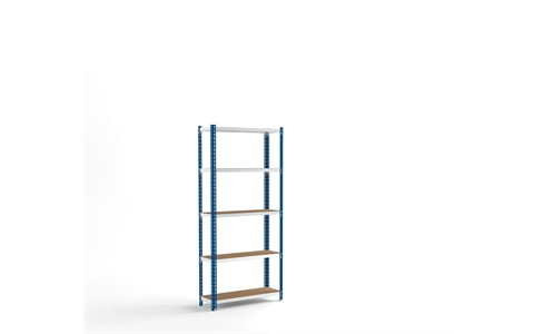 Stockrax Standard Duty Shelving Bay - H1981mm x W900mm x D300mm - c/w 5 Chipboard Shelf Levels - Blue
